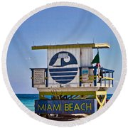 Miami Beach Lifeguard Station Round Beach Towel