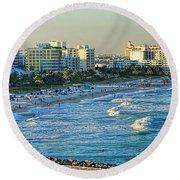 Miami Beach Sunset Round Beach Towel