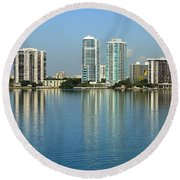 Miami Brickell Skyline Round Beach Towel