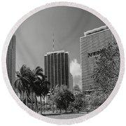 Miami Cityscape  Bw Round Beach Towel