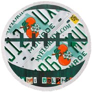 Miami Dolphins Football Recycled License Plate Art Round Beach Towel