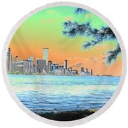 Miami Skyline Abstract II Round Beach Towel