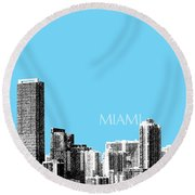 Miami Skyline - Sky Blue Round Beach Towel