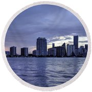 Miami Skyline Waves Round Beach Towel