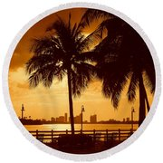 Miami South Beach Romance II Round Beach Towel