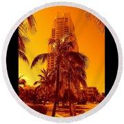 Miami South Pointe Iv Round Beach Towel
