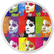Michael Jackson Andy Warhol Style Round Beach Towel