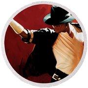 Michael Jackson Artwork 4 Round Beach Towel by Sheraz A