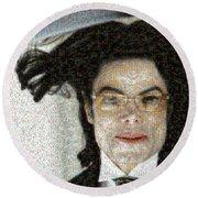 Michael Jackson - Fly Away Hair Mosaic Round Beach Towel