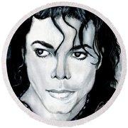 Michael Jackson Portrait Round Beach Towel