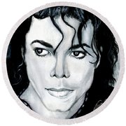 Michael Jackson Portrait Round Beach Towel