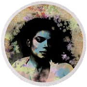 Michael Jackson - Scatter Watercolor Round Beach Towel