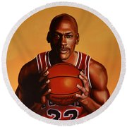 Michael Jordan 2 Round Beach Towel by Paul Meijering