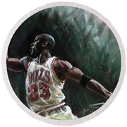 Michael Jordan Round Beach Towel by Ylli Haruni