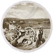 Michael Noon Sitting On A  Pile Of Whale Bones Monterey Wharf  Circa 1896 Round Beach Towel