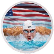 Michael Phelps Artwork Round Beach Towel