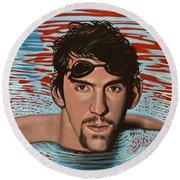 Michael Phelps Round Beach Towel by Paul Meijering
