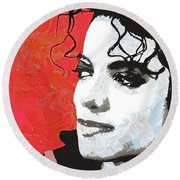 Michael Red And White Round Beach Towel