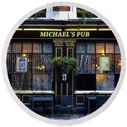 Michaels''s Pub Round Beach Towel by David Pyatt