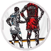 Micheal Jordan 1 Round Beach Towel by Jeremiah Colley