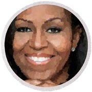 Michelle Obama Round Beach Towel by Samuel Majcen