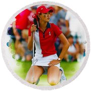 Michelle Wie Of The Usa Solhiem Cup Reacts After Missing A Putt Round Beach Towel