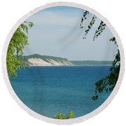 Michigan Bluffs Round Beach Towel