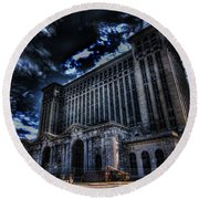 Michigan Central Station Hdr Round Beach Towel