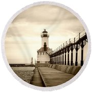 Michigan City Lighthouse Round Beach Towel