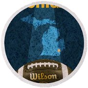 Michigan Football Poster Round Beach Towel