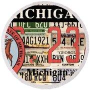Michigan License Plate Round Beach Towel