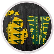 Michigan Love Recycled Vintage License Plate Art State Shape Lettering Phrase Round Beach Towel by Design Turnpike