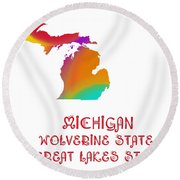 Michigan State Map Collection 2 Round Beach Towel