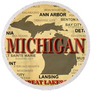 Michigan State Pride Map Silhouette  Round Beach Towel