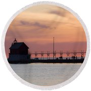 Michigan Sunset Round Beach Towel