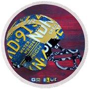 Michigan Wolverines College Football Helmet Vintage License Plate Art Round Beach Towel