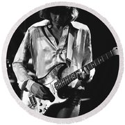 Mick On Guitar 1977 Round Beach Towel