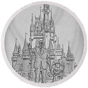 Mickey And Walt At The Park Round Beach Towel
