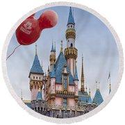 Mickey Mouse Balloon At Disneyland Round Beach Towel