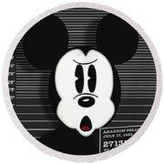 Mickey Mouse Disney Mug Shot Round Beach Towel by Tony Rubino