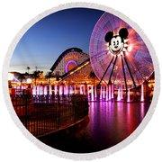 Mickey's Water Wheel Round Beach Towel