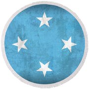 Micronesia Flag Vintage Distressed Finish Round Beach Towel