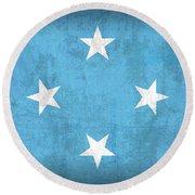 Micronesia Flag Vintage Distressed Finish Round Beach Towel