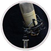 Microphone On Black Round Beach Towel