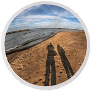 Mid Dec Day At The Beach...who Can Argue At Presque Isle State Park Series Round Beach Towel