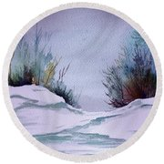 Midday Winter In Maine Round Beach Towel