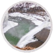 Middle Falls And Ice Feathers Round Beach Towel