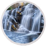 Middle Falls At Snowbird Creek Round Beach Towel