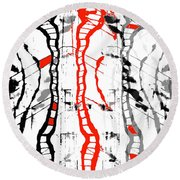 Middle Of The Road Round Beach Towel