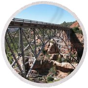 Midgley Bridge Over Oak Creek Canyon Round Beach Towel